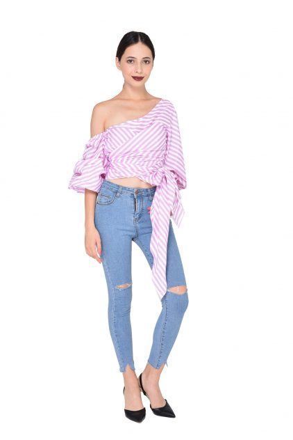 Colin wrap blouse in Pink