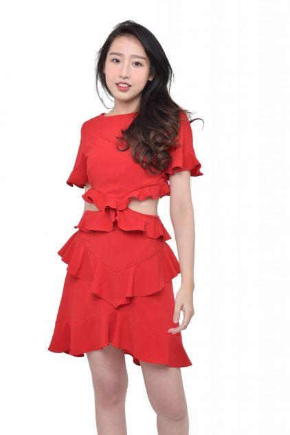 Ruffles Dress Red