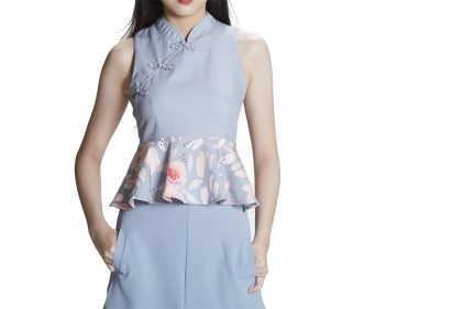 Peplum Blouse in Grey