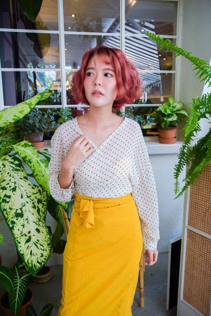 Slit Skirt in Lemon and Black