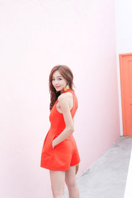 Pony Playsuit Tangerine Red