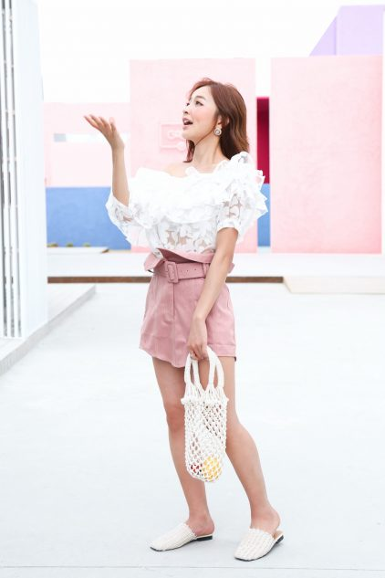 CC Denim Skirt in Pink