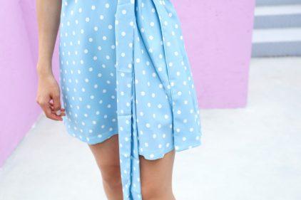 Dottie Wrap Dress in Baby Blue