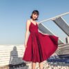 Stacey Pleated Dress Red Print (BACKORDER) 2
