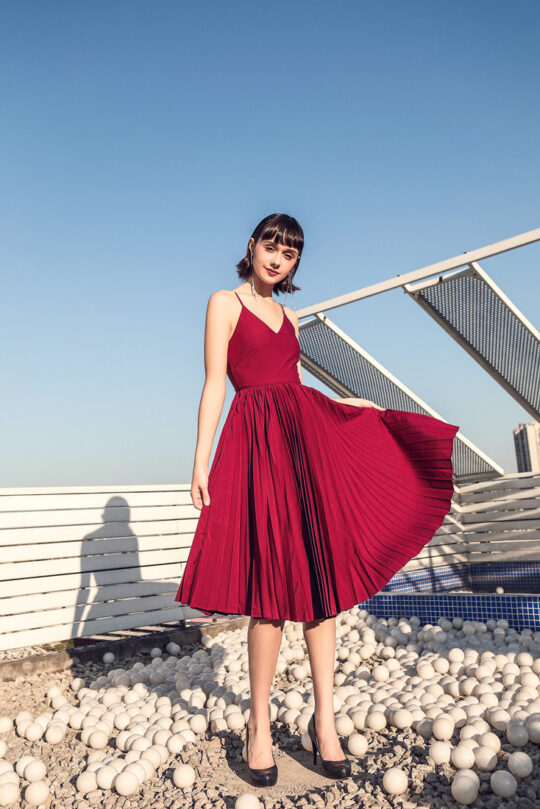 Stacey Pleated Dress Burgundy (BACKORDER) 3