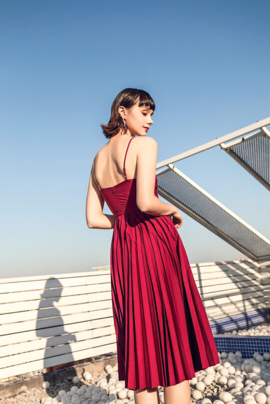 Stacey Pleated Dress Burgundy (BACKORDER) 4