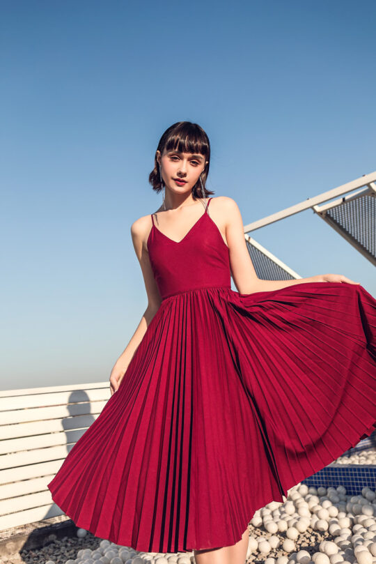 Stacey Pleated Dress Burgundy (BACKORDER) 6