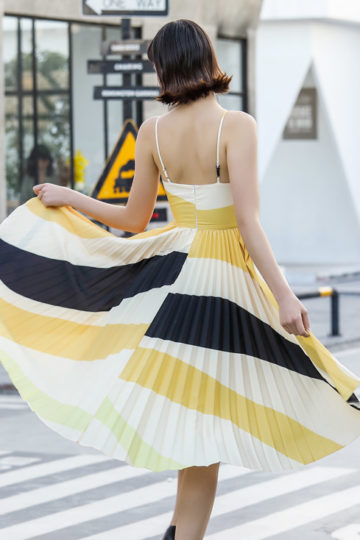 Stacey Pleated Dress Yellow Print (BACKORDER) 9