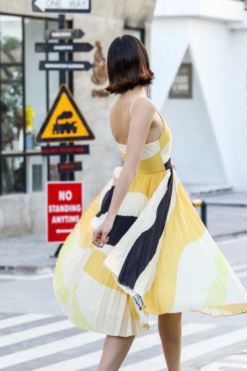 Stacey Pleated Dress Yellow Print (BACKORDER) 10