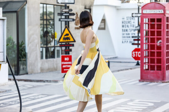 Stacey Pleated Dress Yellow Print (BACKORDER) 5