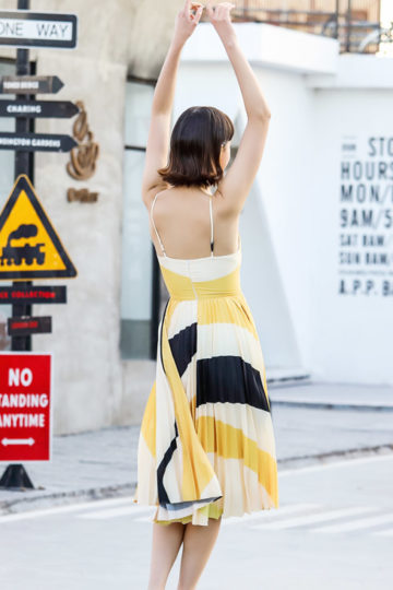 Stacey Pleated Dress Yellow Print (BACKORDER) 11