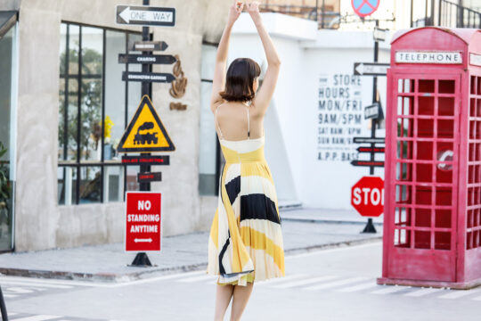 Stacey Pleated Dress Yellow Print (BACKORDER) 6