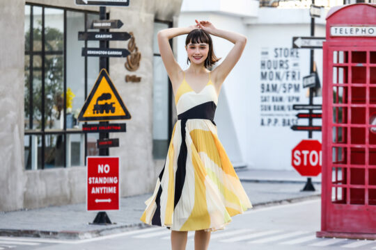 Stacey Pleated Dress Yellow Print (BACKORDER) 7