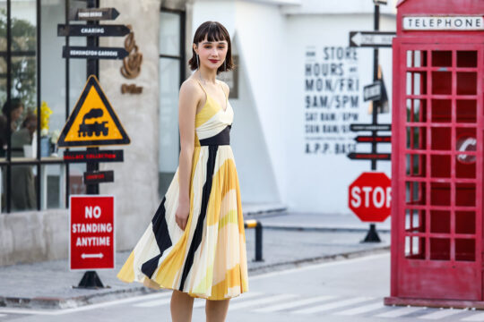 Stacey Pleated Dress Yellow Print (BACKORDER) 8