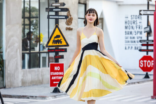 Stacey Pleated Dress Yellow Print (BACKORDER) 3