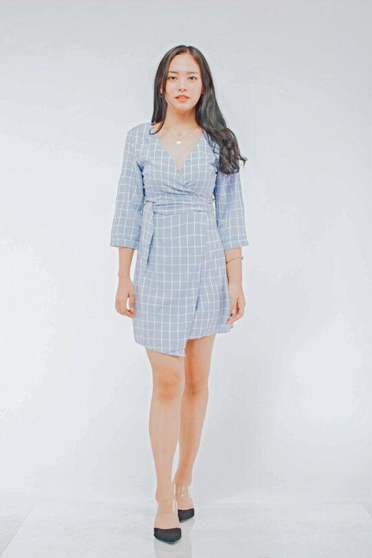 Mango Wrap Dress Checker Blue 3