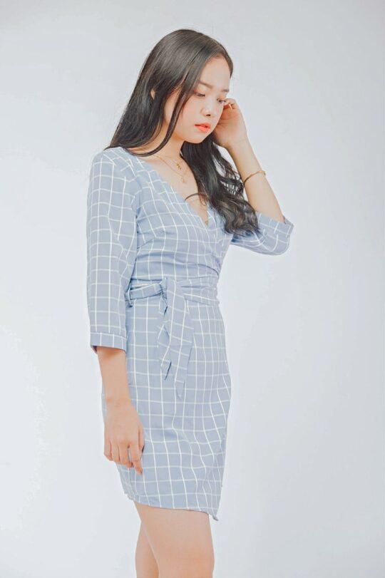 Mango Wrap Dress Checker Blue 5