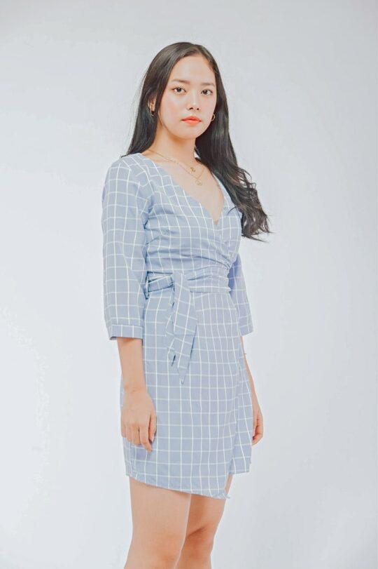 Mango Wrap Dress Checker Blue 6