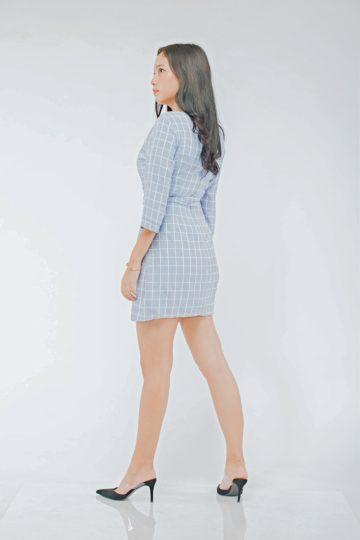 Mango Wrap Dress Checker Blue 7