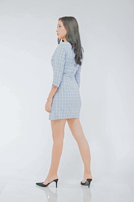 Mango Wrap Dress Checker Blue 4