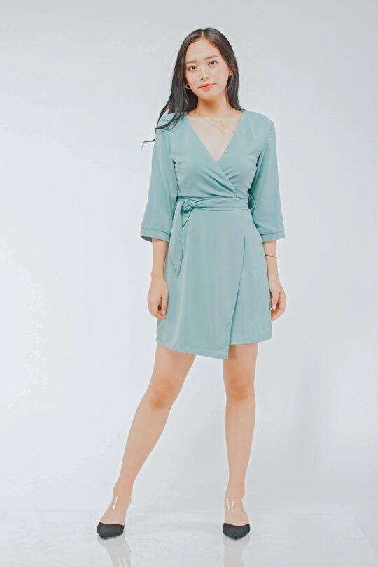 Mango Wrap Dress Green 3