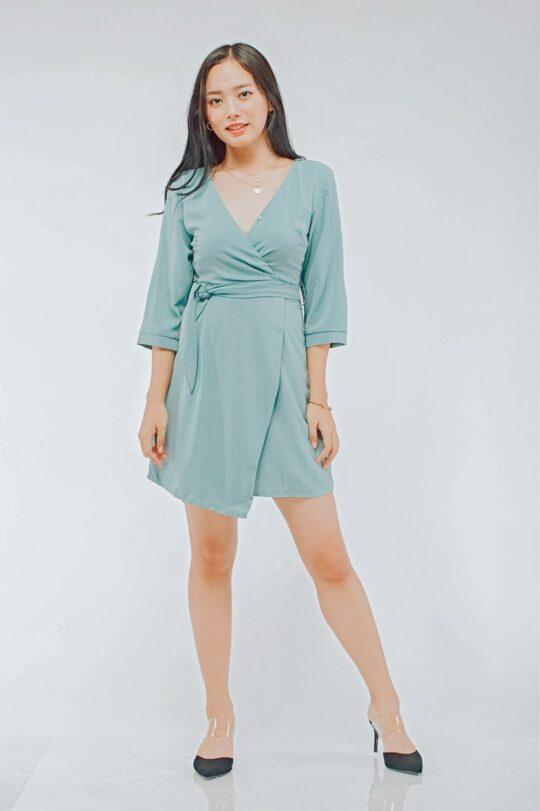 Mango Wrap Dress Green 5