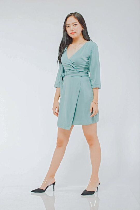 Mango Wrap Dress Green 6