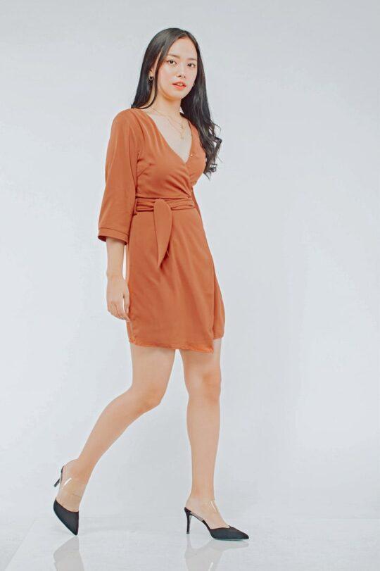 Mango Wrap Dress Brick Red 5