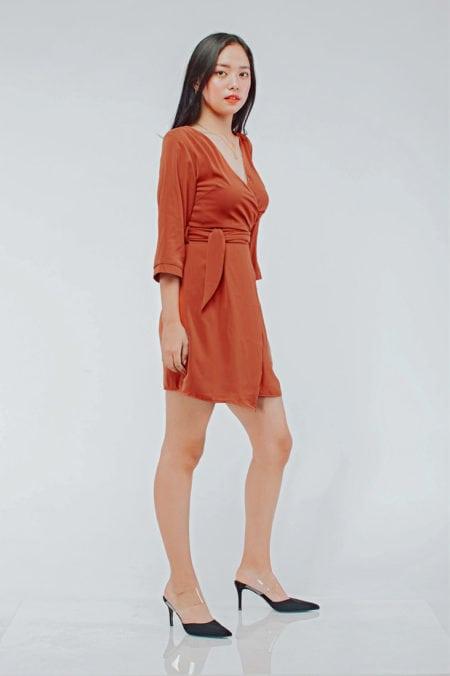 Mango Wrap Dress Brick Red 9