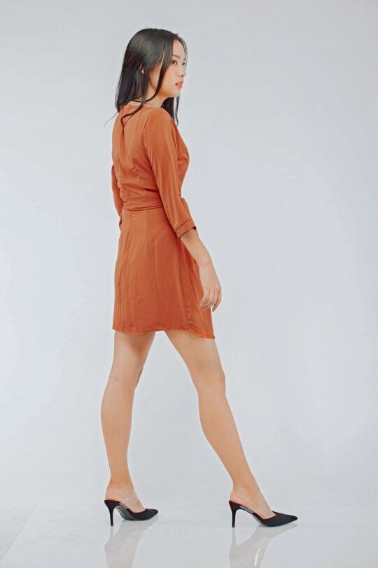 Mango Wrap Dress Brick Red 4