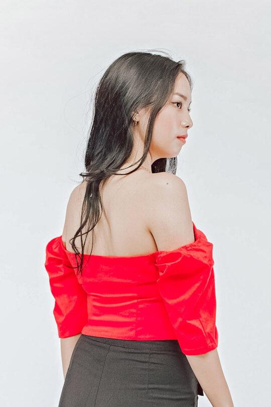 Off Shoulder Top Red 4