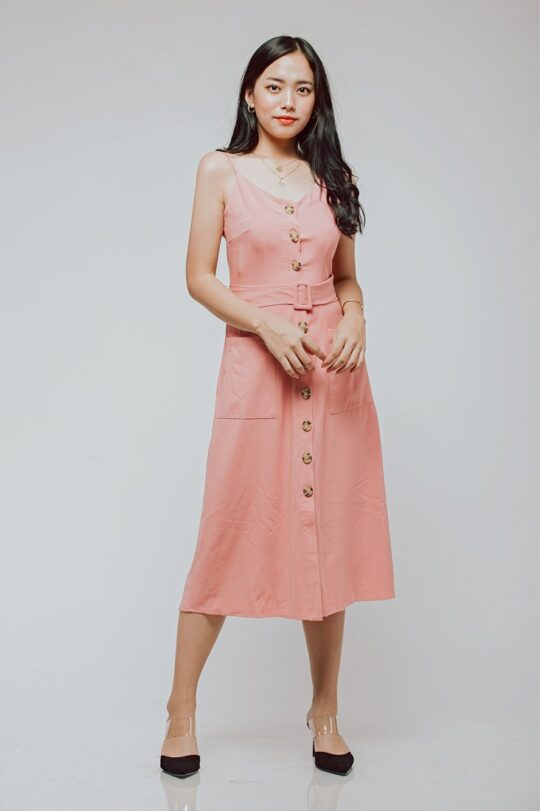 Button Line Dress Dusty Pink 3