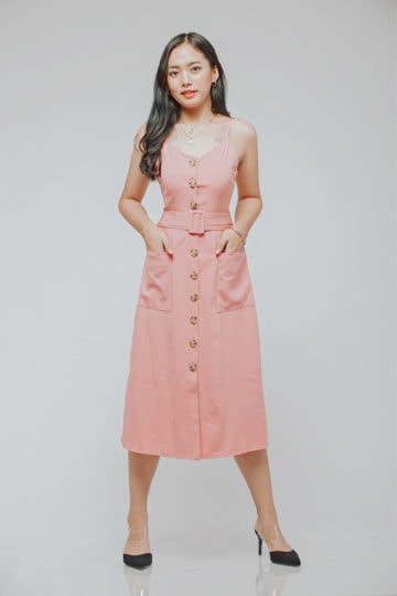 Button Line Dress Dusty Pink 8