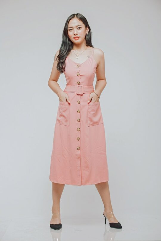 Button Line Dress Dusty Pink 5