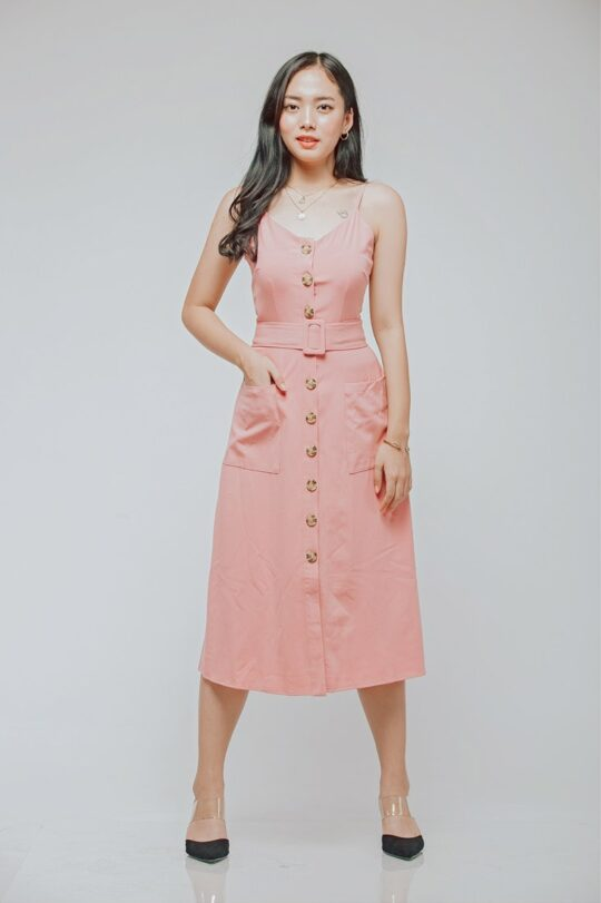 Button Line Dress Dusty Pink 6