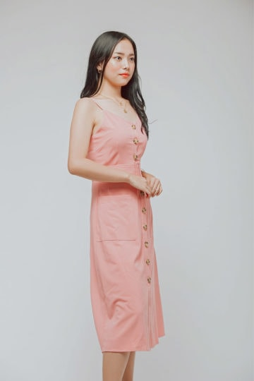 Button Line Dress Dusty Pink 7