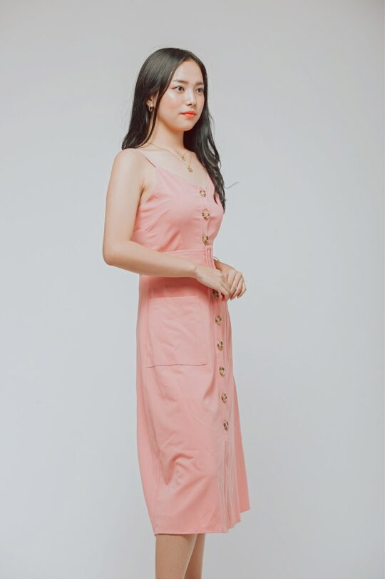 Button Line Dress Dusty Pink 4