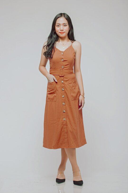 Button Line Dress Rust Orange 3