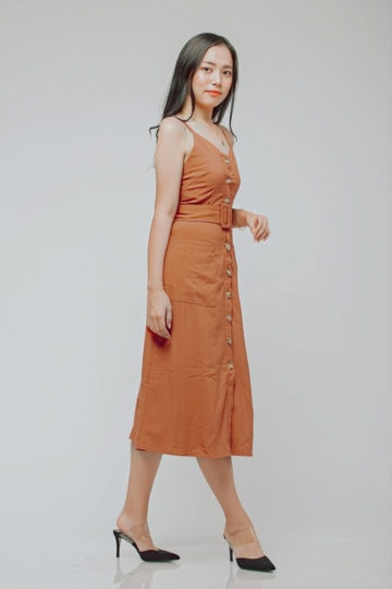 Button Line Dress Rust Orange 9