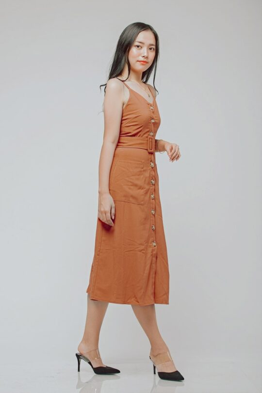 Button Line Dress Rust Orange 6