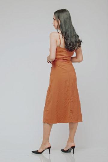 Button Line Dress Rust Orange 8