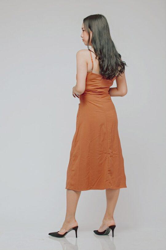 Button Line Dress Rust Orange 5