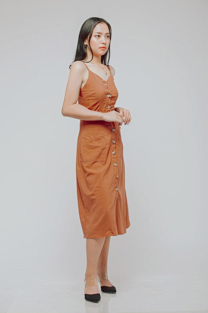 Button Line Dress Rust Orange 4