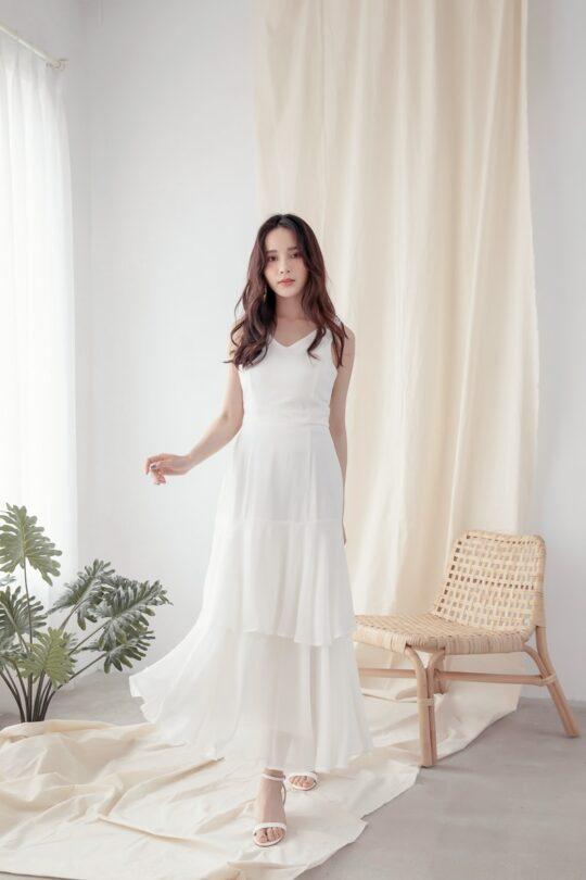 Vivian Dress Plain White 3