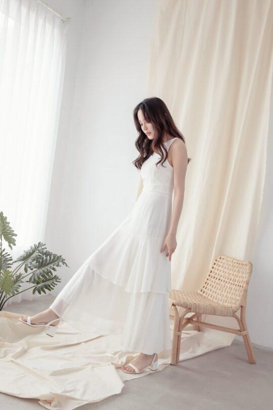 Vivian Dress Plain White 4