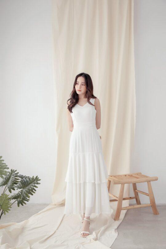 Vivian Dress Plain White 5