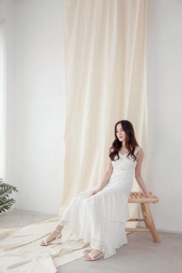 Vivian Dress Plain White 13