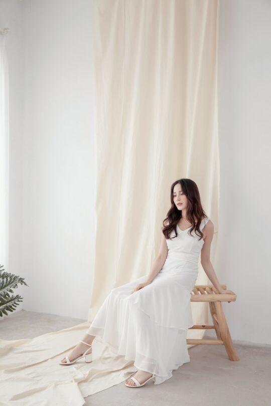 Vivian Dress Plain White 6