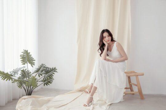 Vivian Dress Plain White 7