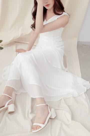 Vivian Dress Plain White 15
